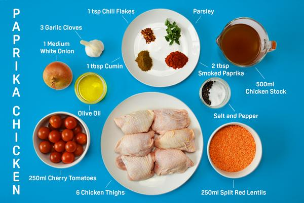 Paprika chicken with red lentils and cherry tomatoes